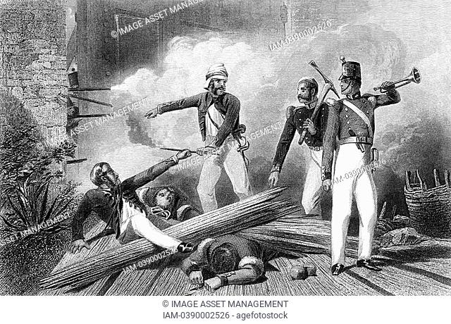 Indian Mutiny 1857-59: blowing up of Cashmere Gate, Delhi  Shot through arm and leg, Lieut Salkeld hands slow match to Corporal Burgess who was mortally wounded...