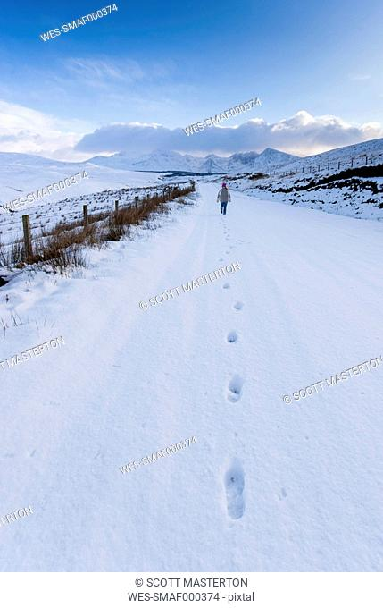 Great Britain, Scotland, Isle of Skye, Footprints in snow