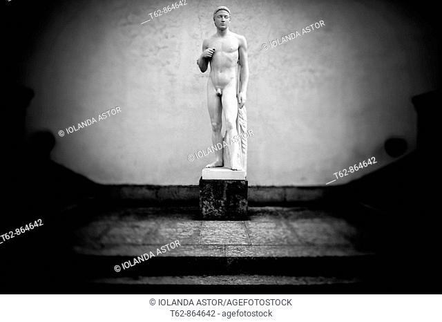 Statue of Apollo. Gardens of Casa Pau Casals. Catalonia. Spain. Selective blurring