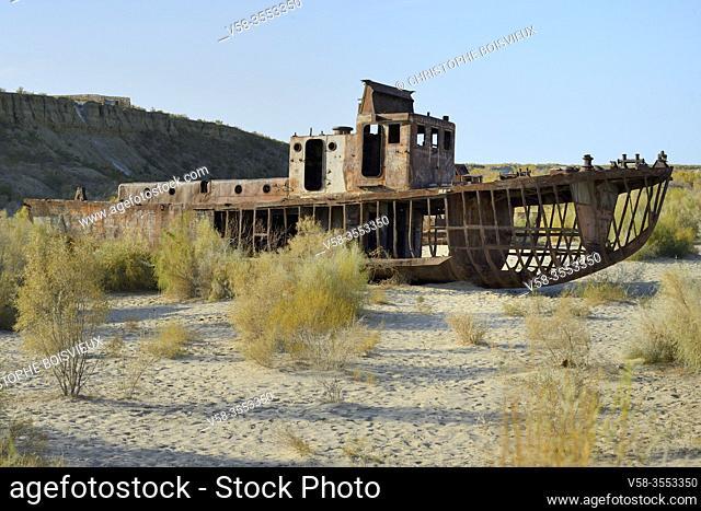 Uzbekistan, Autonomous republic of Karakalpakstan. . Moynaq, Aral Sea, Rusting fishing boats abandoned after the shrinking of the Aral Sea