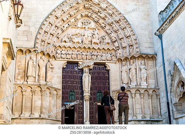 Facade and Door of the Sarmental. Cathedral of Saint Mary of Burgos. Burgos, Castile and Leon, Spain, Europe