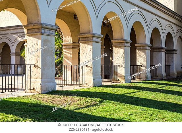 Columns and archways. Balboa Park, San Diego, California, United States