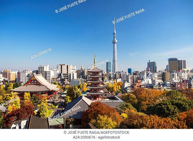 Japan , Tokyo City ,Asakusa District, Sensoji Temple and the Sky Tree Tower
