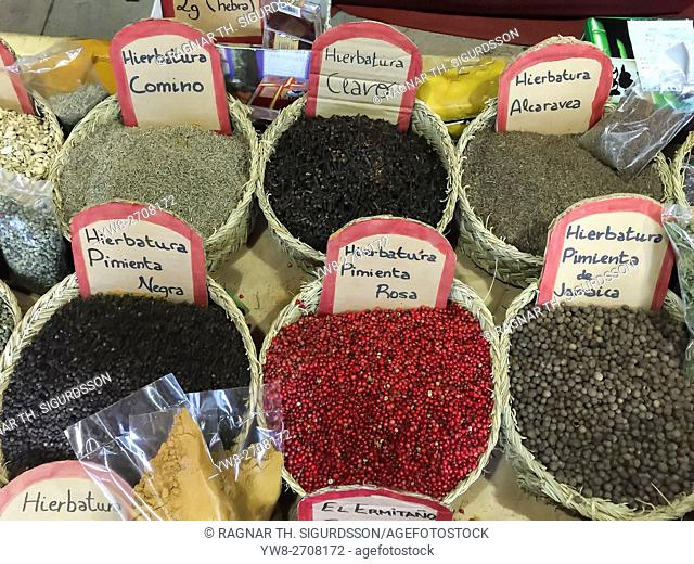 Fresh Herbs and Spices, local market, Alicante, Spain