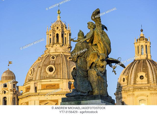 Church spires of Most Holy Name of Mary & St Mary of Loreto at Piazza Venezia, Rome, Lazio, Italy