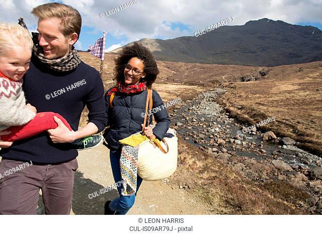 Family out hiking, Fairy Pools, Isle of Skye, Hebrides, Scotland