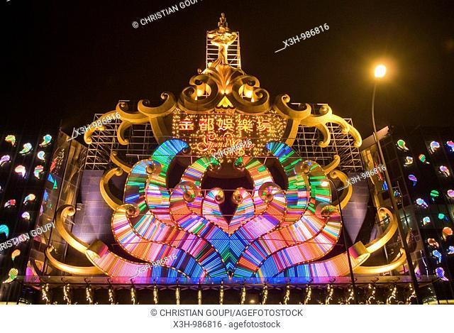 illuminated sign of casino,Taipa,Macau,Special Administrative Region,China,Asia