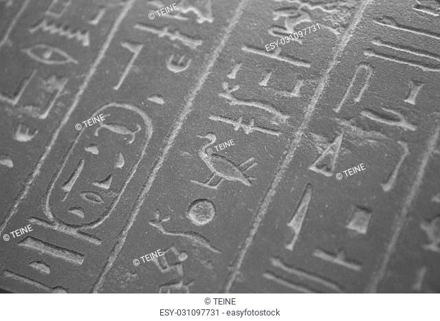 Old egypt hieroglyphs carved in stone
