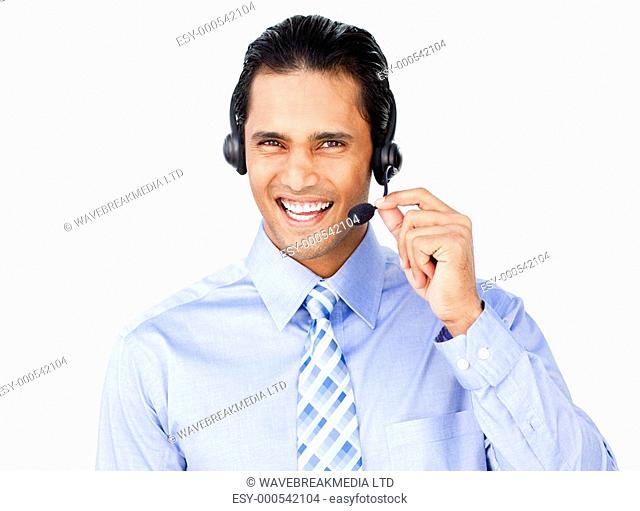Ethnic businessman with headset on isolated on a white background