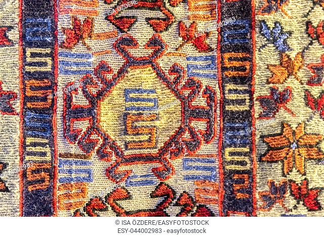 Handmade woven rug and tapestry, vintage carpets on a Turkish bazaar. Traditional Turkey rugs in Egypt Bazaar Turkey