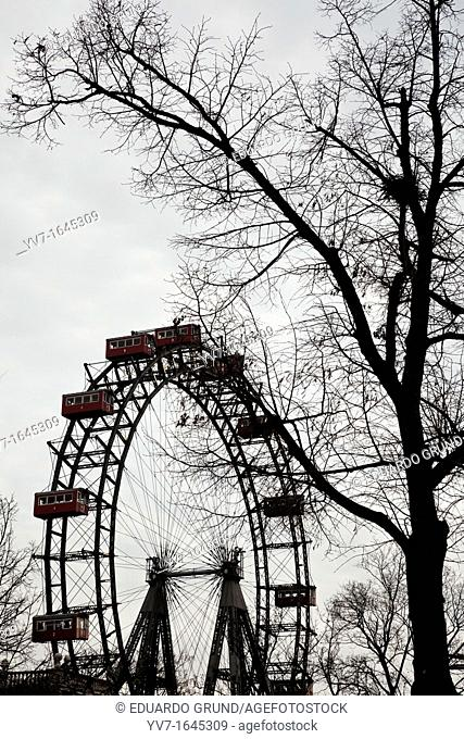 The famous Prater big wheel immortalized in the film The Third Man, Orson Welles  Vienna, Austria