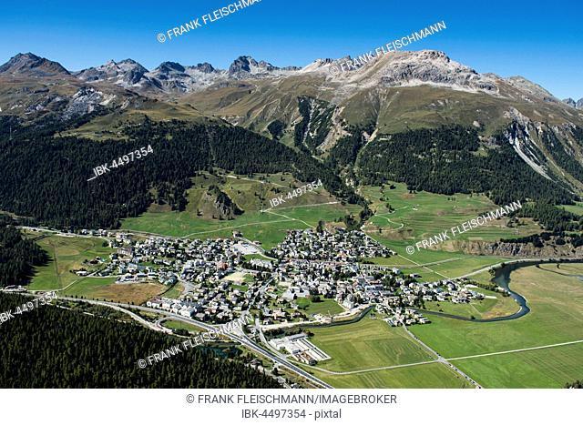 Celerina, Piz Nair, Piz Saluver, Piz Ot, Piz Bever, Inn District, Engadin, Canton of Grisons, Switzerland