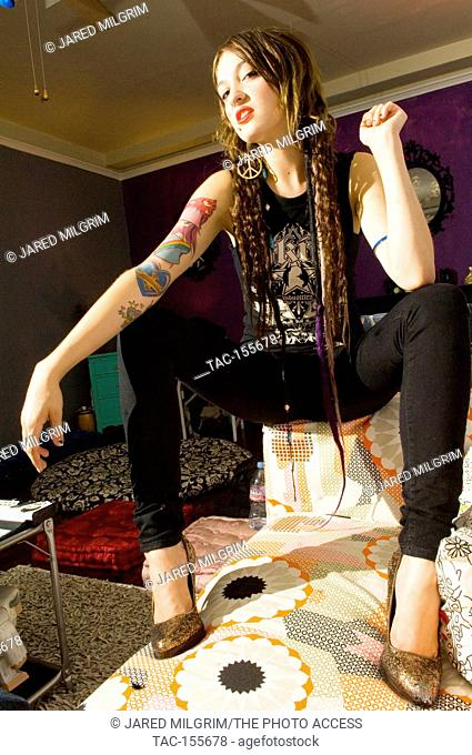 Alaina Beaton of Porcelain and the Tramps poses at her home in Los Angeles