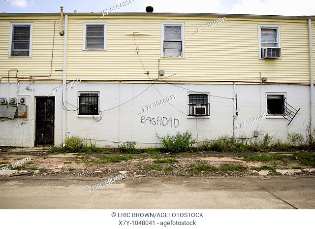 'Baghdad' is spray painted on a home, 9 months after the flooding by Hurricane Katrina, Lower Ninth Ward, New Orleans, LA, USA