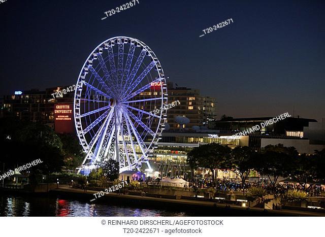 Illuminated Ferris Wheel on South Bank, Brisbane, Australia