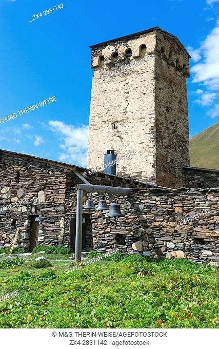 Lamaria church, Ushguli village, Svaneti region, Georgia, Caucasus, Middle East, Asia, Unesco World Heritage Site