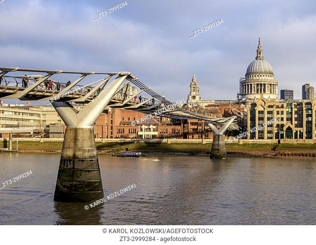 Millenium Bridge and St Pauls Cathedral, London, England, United Kingdom