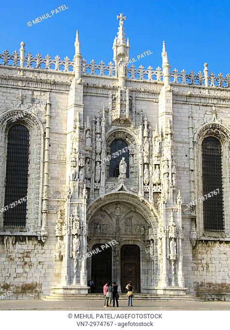 Tourists outside the UNESCO world heritage monument, the Jeronimos Monastery in the district of Belem in Lisbon, Portugal