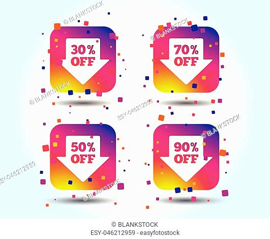 Sale arrow tag icons. Discount special offer symbols. 30%, 50%, 70% and 90% percent off signs. Colour gradient square buttons. Flat design concept