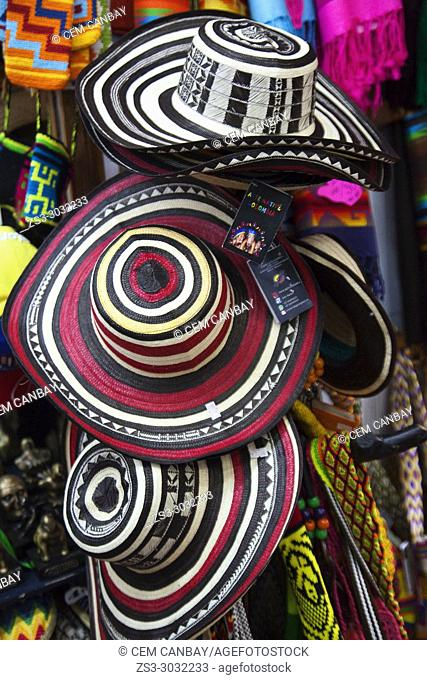 Typical Colombian hats for sale at the Art and Craft market in the historic center, Bogota, Cundinamarca, Colombia, South America