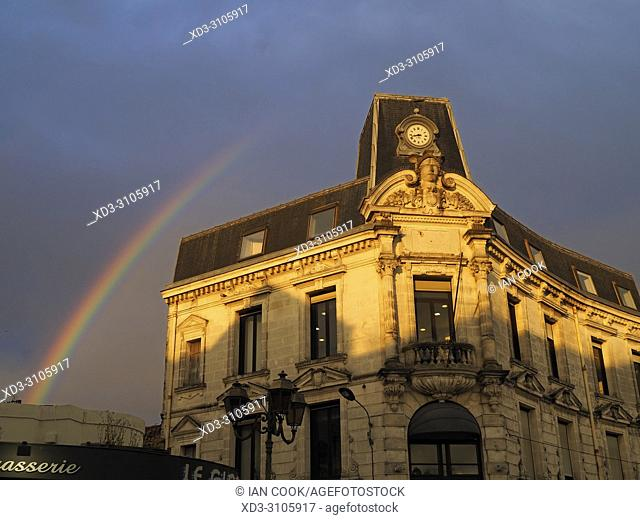 rainbow and BNP Parabis Bank building, Place Francois Premier, Cognac, Charente Department, Nouvelle-Aquitaine, France
