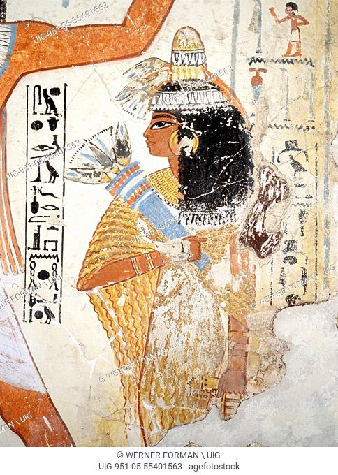 A painting from the tomb of Nebamun showing him hunting birds in the papyrus marshes