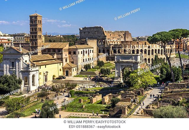 Ancient Forum Titus Arch Roman Colosseum Rome Italy Colosseum built in 72 AD. Titus Arch built 81 AD