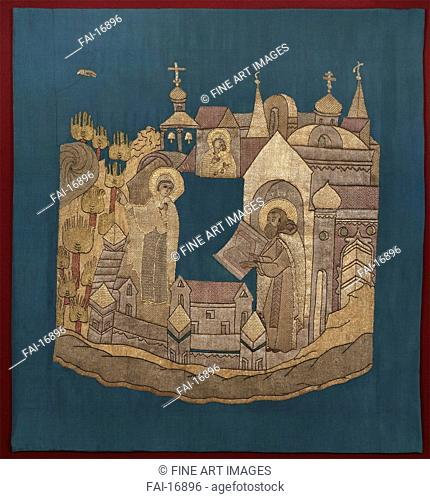 Appearance of the Mother of God to Saint Cyril of Belozersk in the Simonov Monastery (Podea). Ancient Russian Art . Wool, silk, gold and silver threads