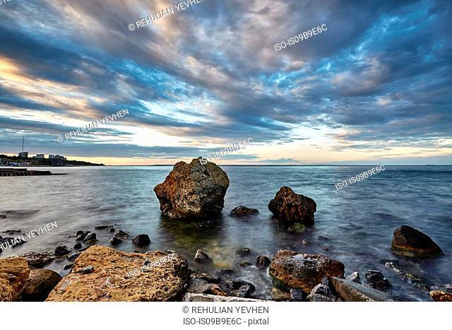 Rocks protruding from sea, Odessa, Odeska Oblast, Ukraine, Europe