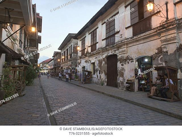 Historic cobblestoned Calle Crisologo, Vigan, Ilocos Sur, Philippines