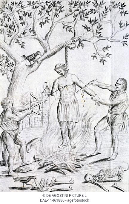 Carib Indians from Venezuela killing and mutilating a Franciscan missionary, 1759. South America, 19th century.  Seville