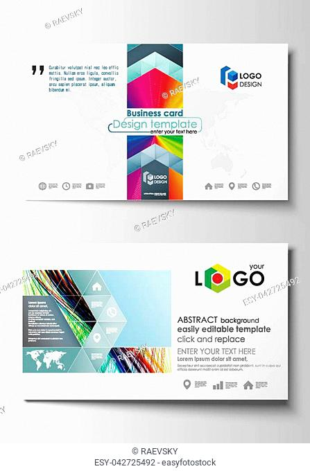 Business card templates. Cover template, easy editable vector, flat style layout. Colorful background with abstract waves, lines. Bright color curves