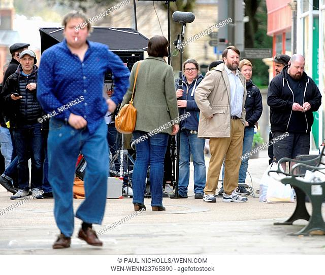 David Mitchell filming a new Channel 4 Comedy in King Street, Stroud, Gloucestershire, England on Tuesday 19th April Featuring: David Mitchell Where: Stroud