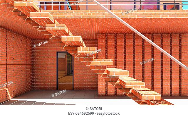 Bright staircase in the modern office
