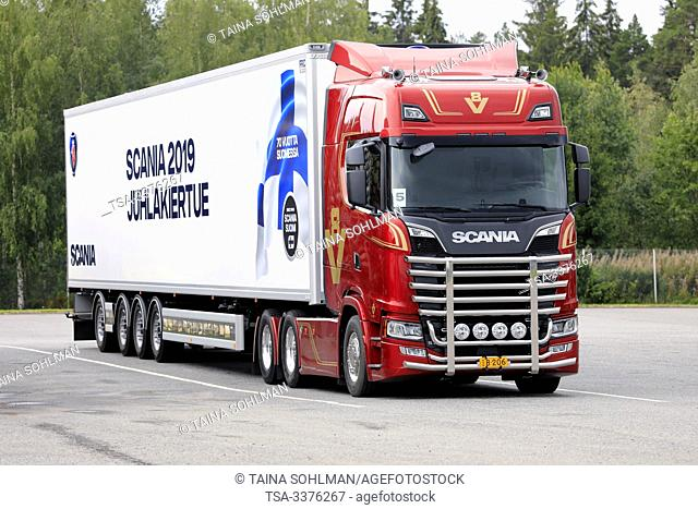Turku, Finland. August 23, 2019. Next Generation Scania S650 V8 50 years anniversary truck in front of semi trailer. Scania in Finland 70 years tour