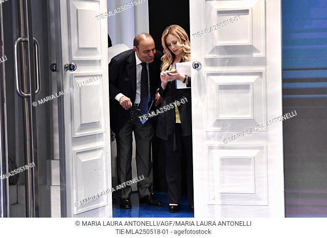 Journalist Bruno Vespa and Leader of Fratelli D'Italia party Giorgia Meloni during the tv show Porta a porta, Rome, ITALY-24-05-2018
