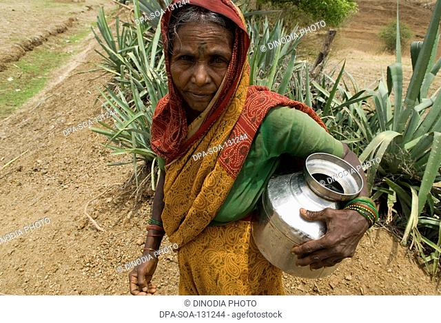 Water shortage Problem ; women carrying water in pots from long distance ; Marathwada ; Maharashtra ; India