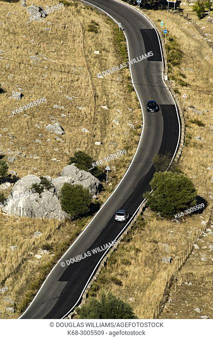 Road below the village of Grazalema, Cadiz province, Andalucia, Spain