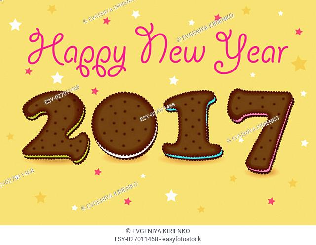 Happy New Year 2017. Calendar template. Brown hand drawn symbols as chocolate cookies. Celebration background with confetti stars. Greeting card