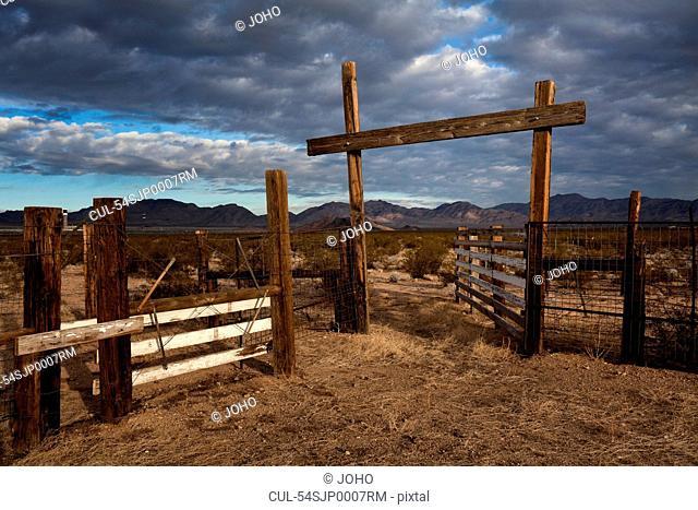 Cattle pen in dry rural landscape