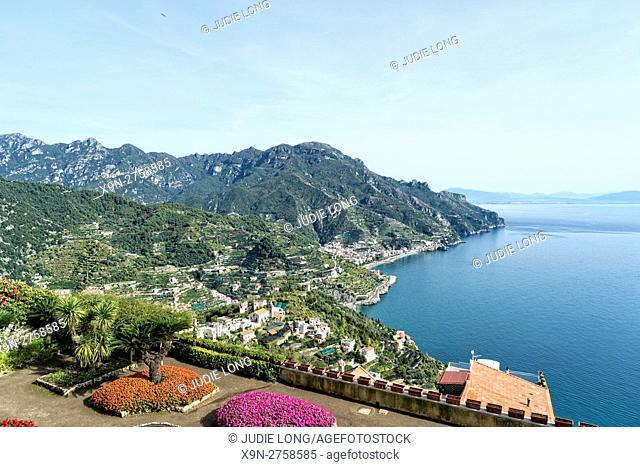 Looking out at the View from Villa Rufolo, Ravello, Amalfi Coast, Italy