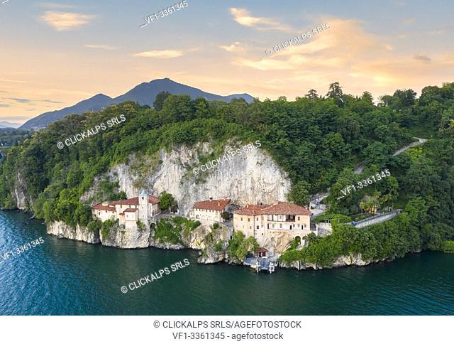 Aerial view of the Santa Caterina del Sasso Ballaro monastery, overlooking Lake Maggiore, Leggiuno, Varese Province, Lombardy, Italy
