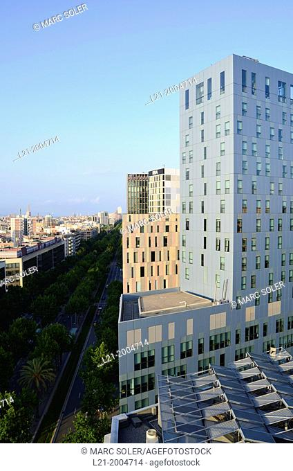 Cityscape. View of Avinguda Diagonal to infinity. Novotel Barcelona City Hotel and RBA building. 22@ district, Poblenou, Barcelona, Catalonia, Spain