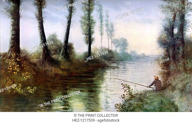 'A Canal with a Fisherman', c1857-1911, (1912). A colour print from Famous Paintings, with an introduction by Gilbert Chesterton, Cassell and Company, (London