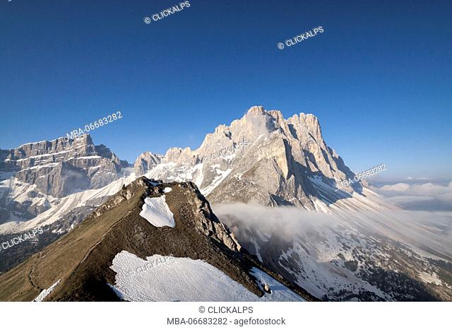 The views from the peaks of the Odle Furcia fork, Dolomites,Trentino, Italy