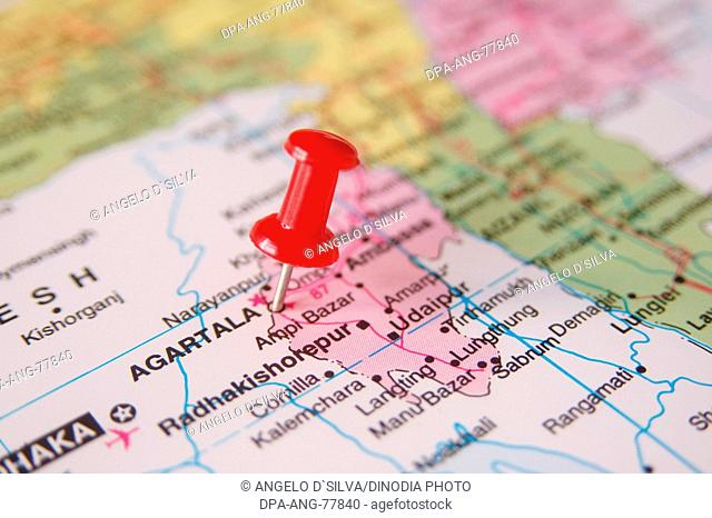 Map of India Spotted Agartala Capital of Tripura by Red colored Board Pin