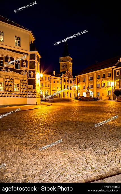 Picturesque old historic town of Mikulov with a castle and vineyards around, South Moravia, Czech Republic