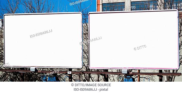 Blank billboards in city
