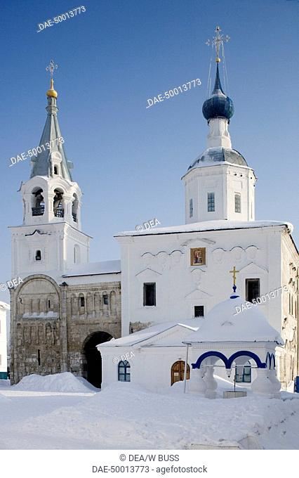 Russia - Golden Ring - Bogolyubovo. The monastery (18th century) containing the ruins of Prince Andrey Bogolyubsky's palace and the tower where he was killed...