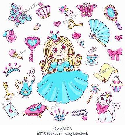 Cute princess set. Vector cartoon children illustration. Isolated on white